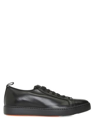 Santoni Sport Erkek Siyah Deri Sneaker 7.5 UK male