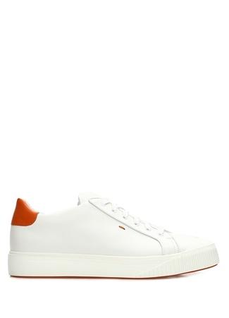 Santoni Sport Erkek Beyaz Turuncu Deri Sneaker 9.5 UK male