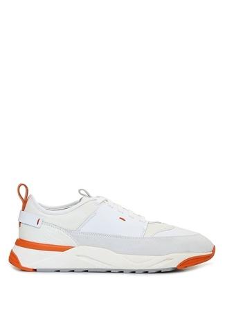 Santoni Sport Erkek Beyaz Garnili Deri Sneaker UK male 11