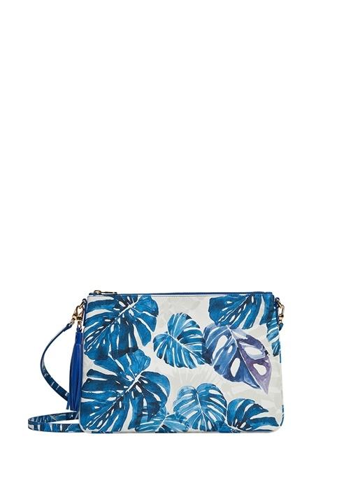 Merita Mavi Yaprak Desenli Kadın El Portföyü