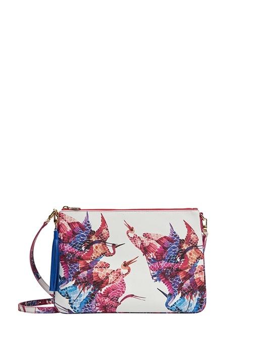 Merita Beyaz Mavi Kuş Desenli Kadın El Portföyü
