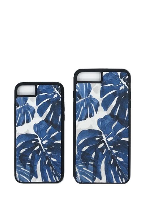 Beyaz Mavi Desenli iPhone 6 7 8 Plus Telefon Kılıf