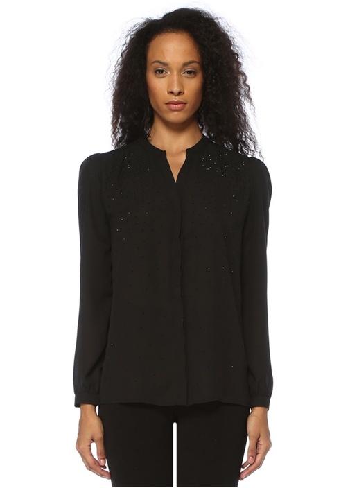 Siyah Taş İşlemeli Gömlek
