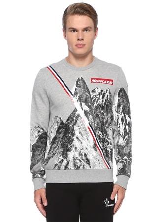 Gri Bisiklet Yaka Dağ Baskılı Logolu Sweatshirt
