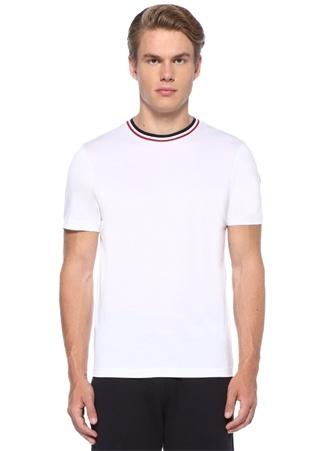 Beyaz Yakası Kontrast Şeritli Logolu T-shirt