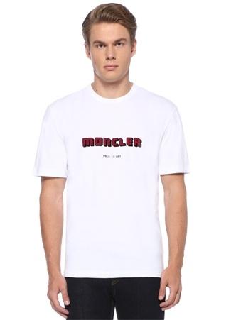 Beyaz Kabartmalı Logolu Basic T-shirt