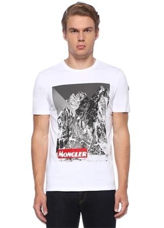 Regular Fit Beyaz Dağ Baskılı Logolu T-shirt