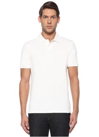 Moncler Erkek Beyaz Polo Yaka Dokulu T-shirt Bej XL EU male