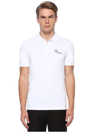 Moncler Erkek Beyaz Logo Baskılı Polo Yaka T-shirt EU male