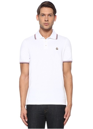 Moncler Erkek Beyaz Polo Yaka Kontrast Şeritli DokuluT-shirt S EU male