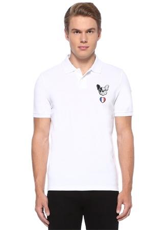 Moncler Erkek Beyaz Polo Yaka Köpek Patchli Dokulu T-shirt XXL EU male