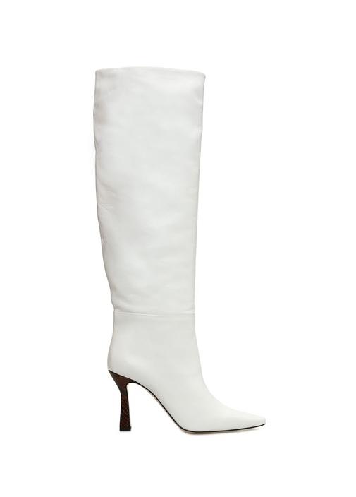 Lina Beyaz Topuğu Desenli Kadın Deri Çizme