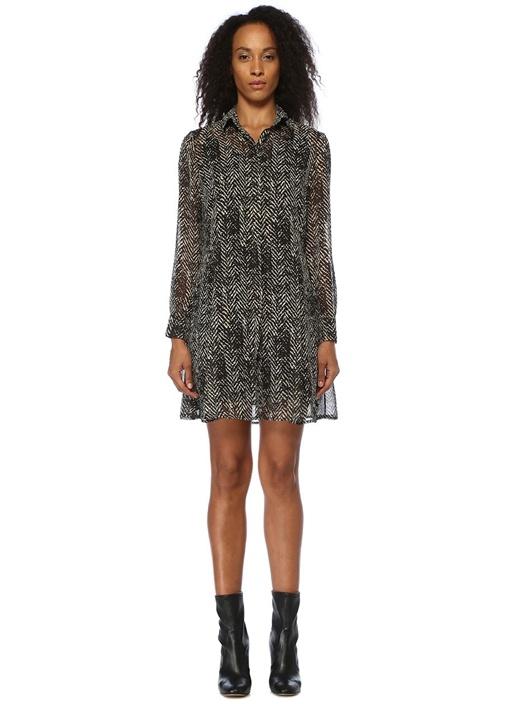 Siyah Balıksırtı Desenli Mini Gömlek Elbise