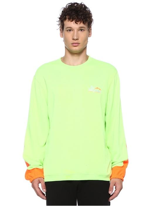 Neon Yeşil Garnili Figür Baskılı Sweatshirt