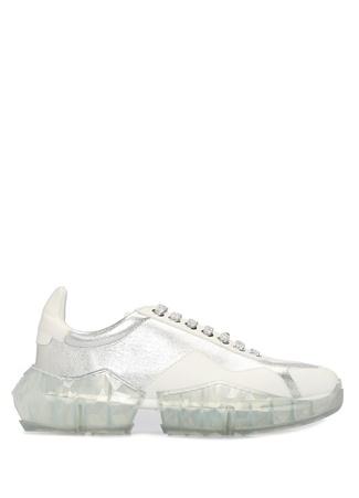 Jimmy Choo Kadın Diamond Beyaz Taban Detaylı Deri Sneaker 37 EU