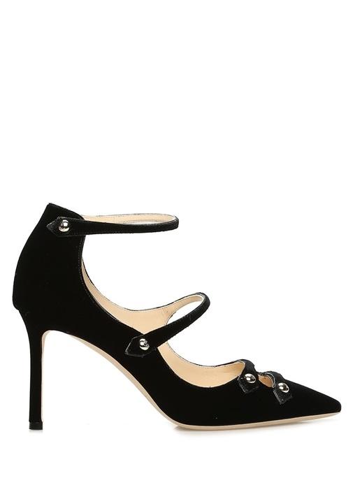 Lacey Siyah Troklu Kadife Topuklu Ayakkabı