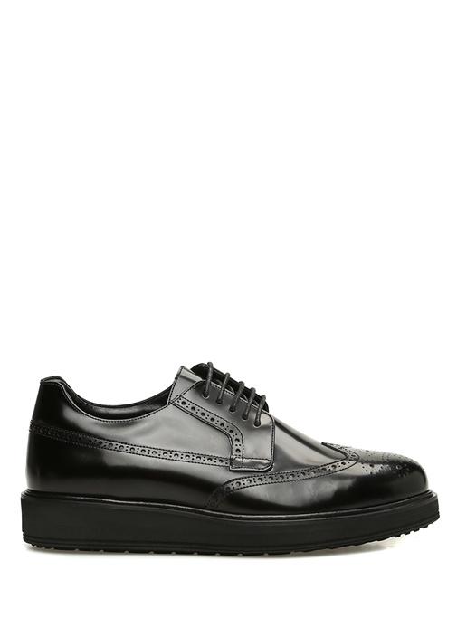 Siyah Kesim Detaylı Erkek Deri Ayakkabı