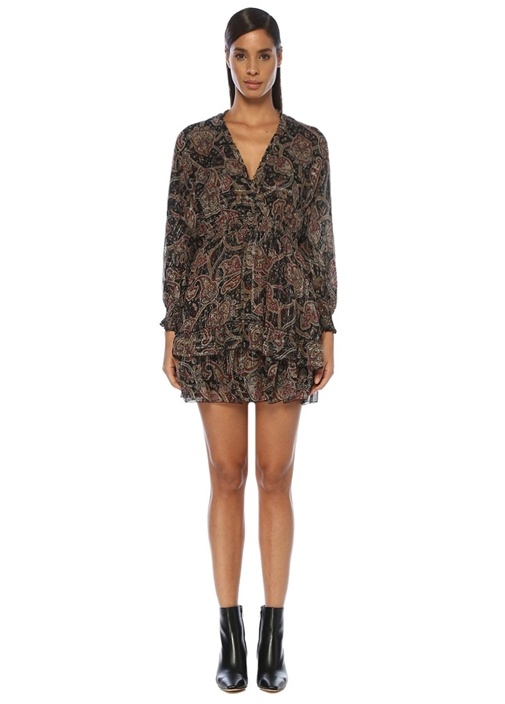 Siyah V Yaka Şal Desenli Mini İpek Elbise