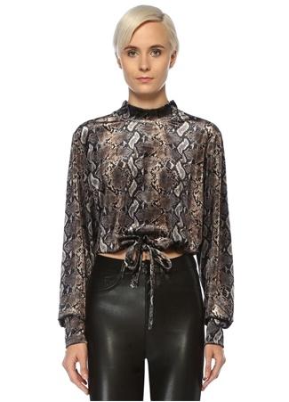 The Kooples Kadın Yılan Derisi Desenli Crop Kadife Sweatshirt Siyah US female 1