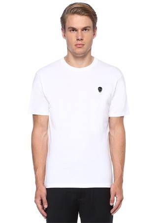 Beyaz Logo Patchli Basic T-shirt