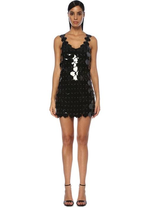 Siyah V Yaka Altıgen Parçalı Mini Kokteyl Elbise