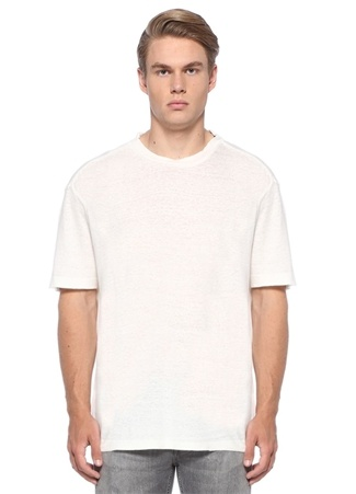 Oversized Fit Arann Beyaz Keten T-shirt