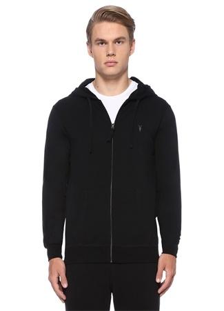 Oyster Siyah Kapüşonlu Logolu Sweatshirt