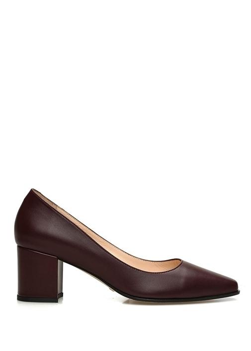 Bordo Deri Topuklu Ayakkabı