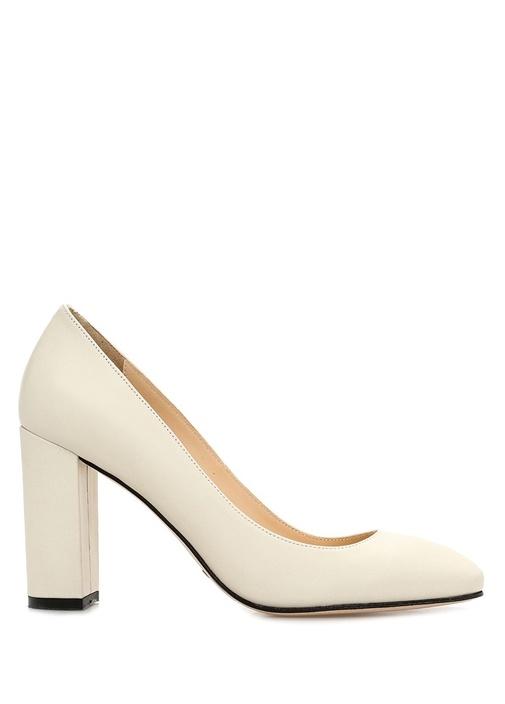 Krem Deri Topuklu Ayakkabı
