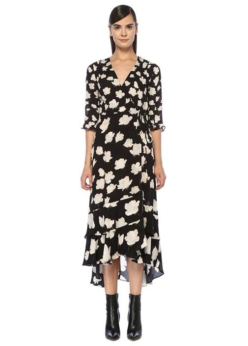 Delana Caro Siyah Çiçekli Midi Anvelop Elbise