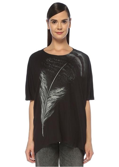 Os Feather Dreams Siyah Baskılı Bol T-shirt