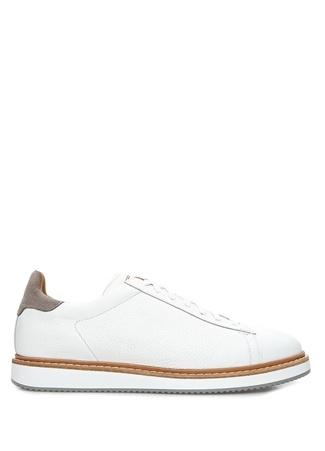 Beyaz Logolu Erkek Deri Sneaker
