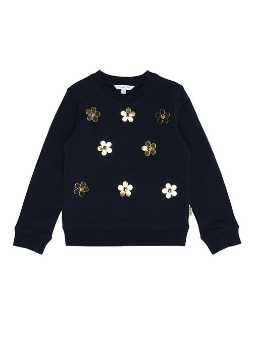 Lacivert Gold Çiçekli Kız Çocuk Sweatshirt
