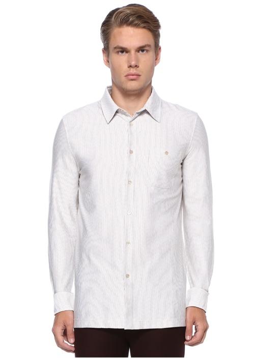 Beyaz İngiliz Yaka Zikzak Desenli Gömlek