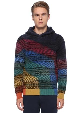 Missoni Erkek Colorblocked Kapüşonlu Karışık Desenli Yün Kazak 48 IT Çok Renkli male