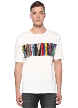 Missoni Erkek Beyaz Renkli Logo Baskılı Basic T-shirt EU male