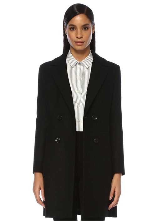 Siyah Kruvaze Yün Palto