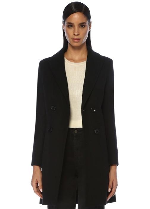 Siyah Kırlangıç Yaka Kruvaze Yün Palto