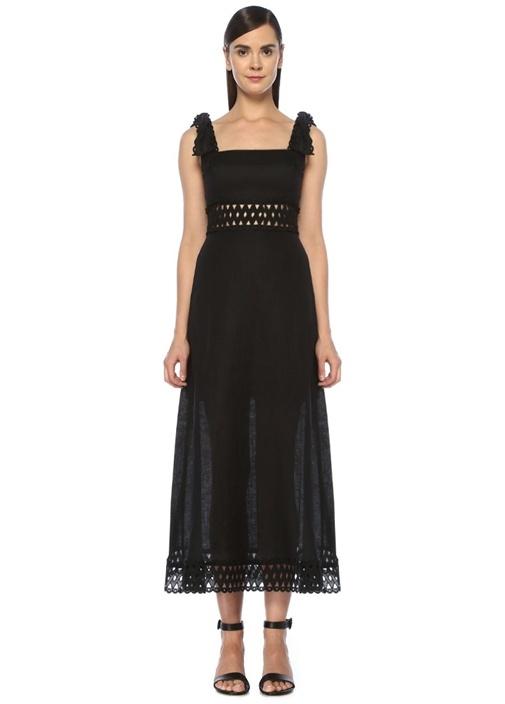 Verity Siyah Omzu Bağcıklı Midi Keten Elbise
