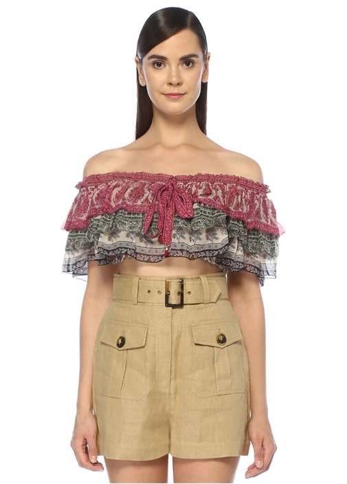 Amari Omzu Açık Şal Desenli Fırfırlı Crop Bluz