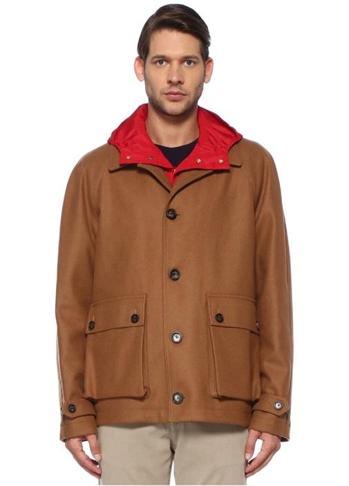 Bej Kırmızı İç Ceket Detaylı Yün Mont