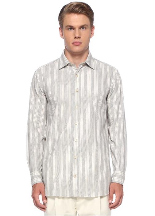 Beyaz Lacivert İngiliz Yaka Çizgili Gömlek