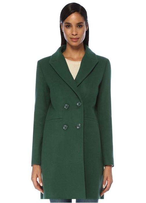 Yeşil Kırlangıç Yaka Kruvaze Yün Palto