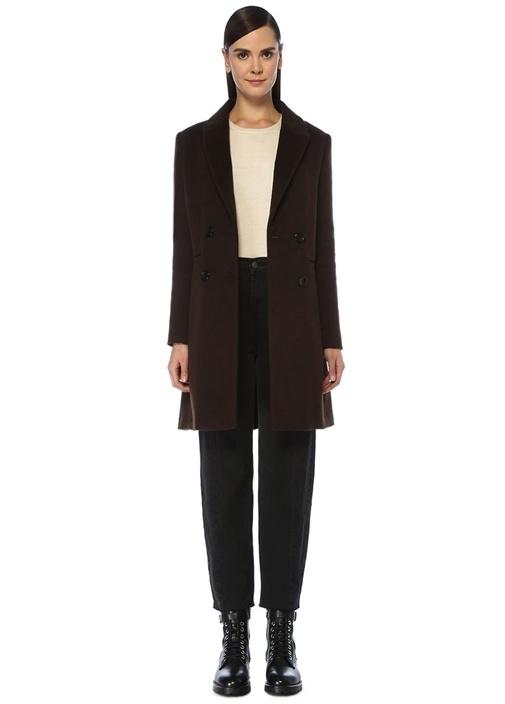 Kahverengi Kırlangıç Yaka Kruvaze Yün Palto