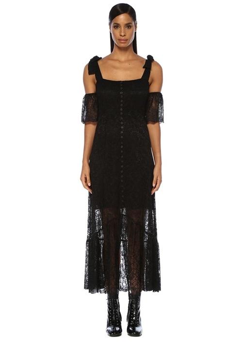 Siyah Kare Yaka Kalın Askılı Midi Dantel Elbise