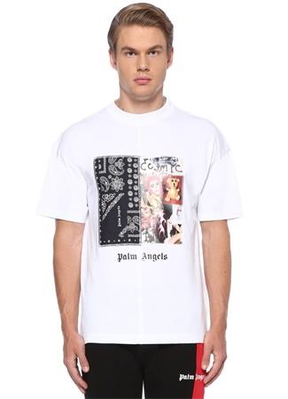 Bandana Collage Beyaz Baskılı Basic T-shirt