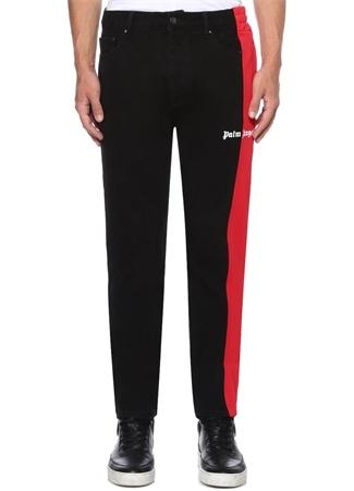 Siyah Kırmızı Garnili Logo Baskılı JeanPantolon
