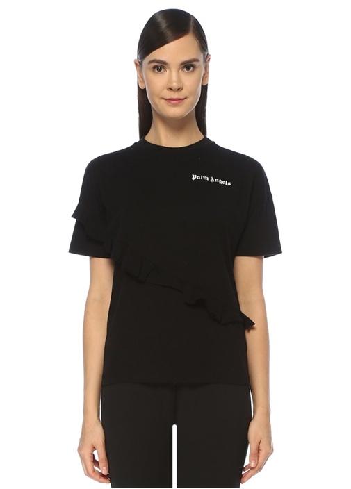 Siyah Logolu Asimetrik Fırfırlı T-shirt