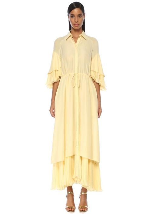 Sarı İngiliz Yaka Pileli Maksi Abiye Elbise