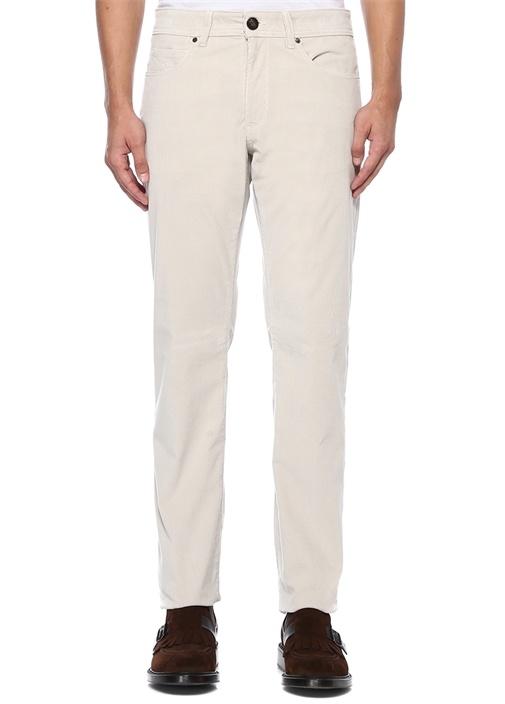 Ekru Yüksek Bel Çizgi Dokulu Spor Pantolon